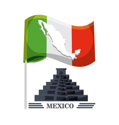 Mexico flag with traditional mexican symbol vector