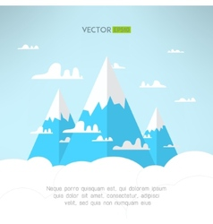 Mountains in the clouds in a modern simple light vector