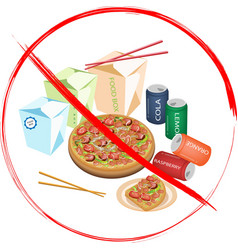 No Eat Sweet Drinks and Fast Food vector image