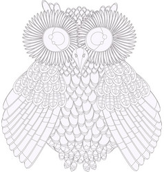 owl coloring black and white vector image