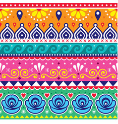 pakistani indian truck art seamless pattern vector image