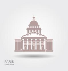 Pantheon in paris france landmark icon in flat vector