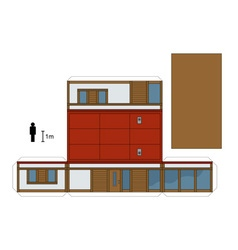 Paper model of a small low house vector