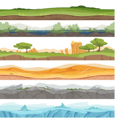 parallax seamless ground game landscape ice grass vector image