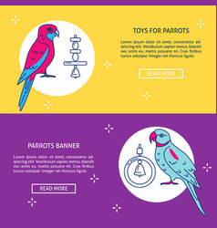 Pet shop flyer templates with parrot icons in flat vector