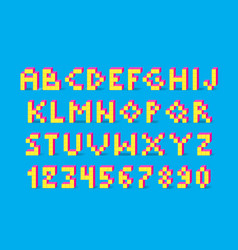 pixel retro video game font vector image