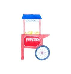 Popcorn machine Watercolor popcorn kiosk on the vector