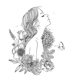 Profile of young beautiful woman with flowers vector