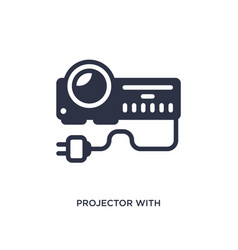 Projector with plug icon on white background vector