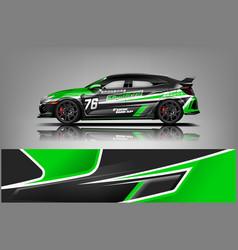 racing car wrap design sedan hatchback and sport vector image