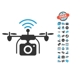 Radio Camera Drone Icon With Free Bonus vector