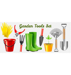realistic garden tools transparent set vector image