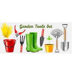 Realistic garden tools transparent set vector