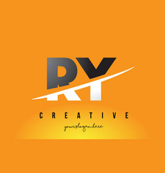 Ry r y letter modern logo design with yellow vector