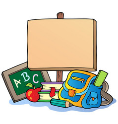School theme with wooden board vector