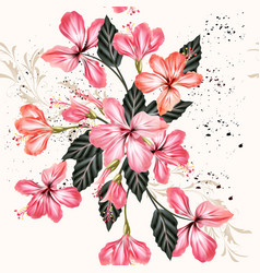 Seamless background with hibiscus flowers vector