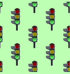seamless pattern of green traffic lights on green vector image