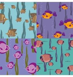Seamless pattern pink fish vector