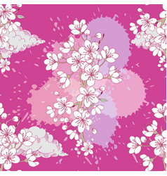 seamless pattern with sakura hand drawn spring vector image