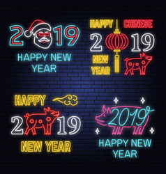 Set 2019 happy new year neon sign with pig vector