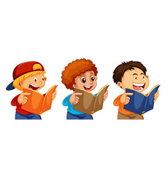set boy readign a book vector image