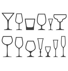 Set of empty different shapes wineglass and glass vector
