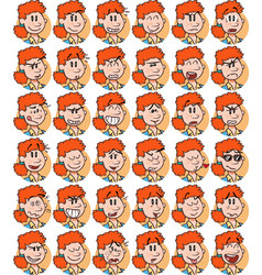Set of redhead businesswoman emojis vector