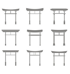 Set with traditional japanese gate torii vector