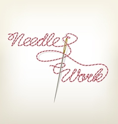 Sewing needle with red thread Needle Work vector image