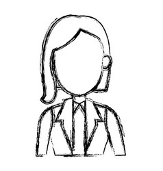 sketch woman cartoon profile girl avatar vector image