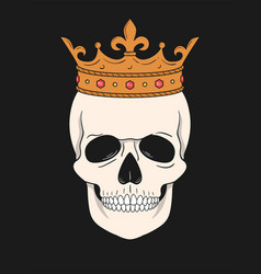 skull wearing crown for t-shirt and other uses vector image
