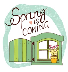 Spring card with window and flowers vector