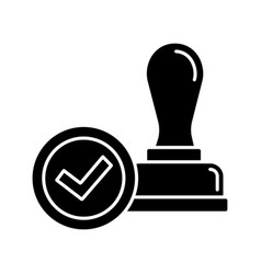 stamp approved glyph icon vector image