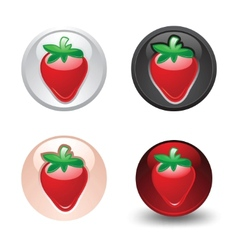 Strawberry button set web 20 icons vector