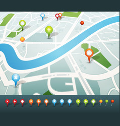 Street map with gps pins icons vector