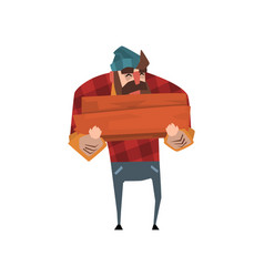Strong lumberjack with beard in red plaid shirt vector