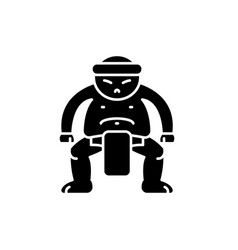 sumo black icon sign on isolated vector image