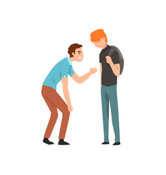 Teen boy mocking his classmate conflict between vector