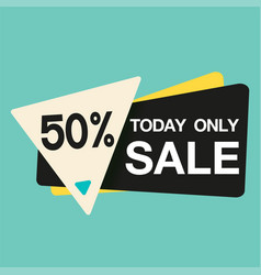 today only sale 50 triangle blue background vector image