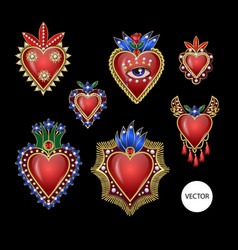 traditional mexican hearts with fire and flowers vector image