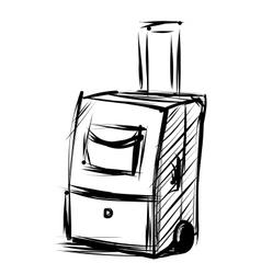 Travel bag on wheels Sketch vector