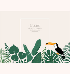 trendy banner with tropical leavestoucan bird and vector image