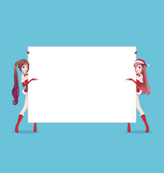 two anime manga woman looks out from behind poster vector image
