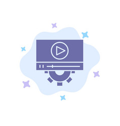 video play setting design blue icon on abstract vector image
