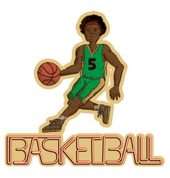 Vintage basketball player vector