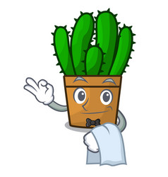 Waiter spurge cactus plant isolated on mascot vector