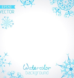 watercolour background of snowflakes vector image