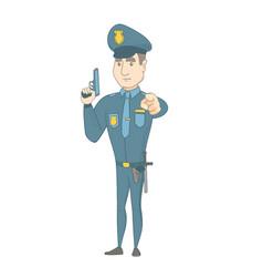 Young caucasian policeman holding a handgun vector