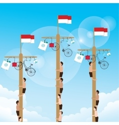 Climbing game with hanging prize at the top vector