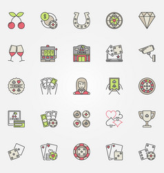 colorful casino icons set vector image